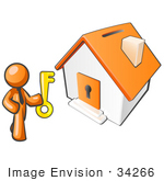 #34266 Clip Art Graphic Of An Orange Guy Character Holding A Golden Key And Standing By A Home