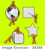 #34268 Clip Art Graphic Of An Orange Guy Character Collection With A Globe Presentation Cube And Star