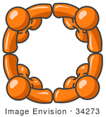 #34273 Clip Art Graphic Of An Orange Guy Character Group Standing In A Support Circle