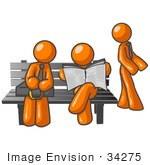 #34275 Clip Art Graphic Of Orange Guy Characters Waiting At A Bus Stop Bench Standing Reading A Newspaper And Sitting