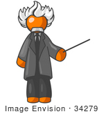 #34279 Clip Art Graphic Of An Orange Guy Albert Einstein Character With White Hair Holding A Pointer