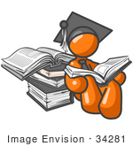 #34281 Clip Art Graphic Of An Orange Guy Character In A Graduation Cap Reading Books