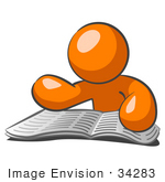 #34283 Clip Art Graphic of an Orange Guy Character Reading Through Articles And Classifieds In The Newspaper by Jester Arts