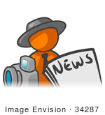 #34287 Clip Art Graphic Of An Orange Guy Character News Reporter With A Camera And Newspaper
