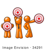 #34291 Clip Art Graphic Of An Orange Guy Characters Holding Target Bullseye Points In Different Positions
