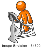 #34302 Clip Art Graphic Of An Orange Guy Character Working Out On A Stair Climber In A Fitness Gym by Jester Arts