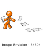#34304 Clip Art Graphic Of An Orange Guy Character Looking Back As Papers Fly Away In The Breeze