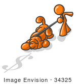 #34325 Clip Art Graphic Of An Orange Guy Character Trying To Pull Back A Bloodhound Dog Sniffing After Money