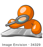 #34329 Clip Art Graphic Of An Orange Guy Character Reading Through A Book With A Magnifying Glass
