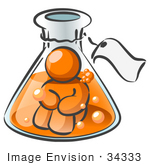 #34333 Clip Art Graphic Of An Orange Guy Character Sitting In Bubbly Liquid Trapped Inside A Beaker In A Science Lab
