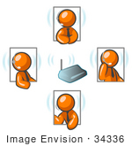 #34336 Clip Art Graphic Of Orange Guy Characters Holding A Wireless Meeting And Wearing Headsets