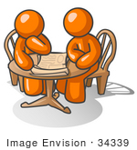 #34339 Clip Art Graphic Of An Orange Guy Character And Friend Sitting At A Table And Looking At Papers