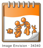 #34340 Clip Art Graphic Of An Orange Guy Character With His Family And Pets On A Notepad