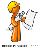 #34342 Clip Art Graphic of an Orange Guy Character Holding Architectural Design Blueprints And Scrolls by Jester Arts