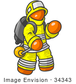 #34343 Clip Art Graphic of an Orange Guy Character Fireman In A Yellow Safety Suit, Waving by Jester Arts