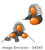 #34345 Clip Art Graphic Of An Orange Guy Character Judge Wearing Wig And Shown In Two Poses One Scene Where He Is Whacking The Gavel On The Desk