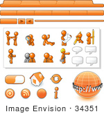 #34351 Clip Art Graphic Of An Orange Guy Character Web Designer Kit With Tabs Icons And People