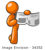 #34352 Clip Art Graphic of an Orange Guy Character Holding And Pointing To A Story And Photo In The News by Jester Arts