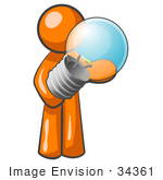 #34361 Clip Art Graphic of an Orange Guy Character Holding A Shiny Blue Lightbulb by Jester Arts