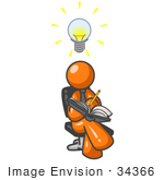 #34366 Clip Art Graphic Of An Orange Guy Character Writing Down Inventions And Ideas In A Book