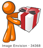 #34368 Clip Art Graphic Of An Orange Guy Character Holding A Gift Wrapped In White Paper With A Red Bow And Ribbon