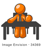 #34369 Clip Art Graphic Of An Orange Guy Character Bossing People Around While Sitting At His Desk