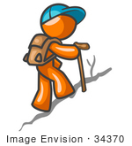 #34370 Clip Art Graphic Of An Orange Guy Character Wearing A Hat And Backpack Using A Stick While Hiking