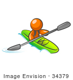 #34379 Clip Art Graphic Of An Orange Guy Character Kayaking Down A River In A Green Boat