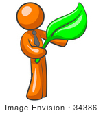 #34386 Clip Art Graphic Of An Orange Guy Character In A Business Tie Holding A Large Green Leaf