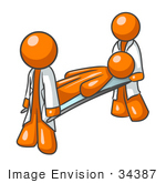 #34387 Clip Art Graphic Of An Orange Guy Character Being Carried By Paramedics On A Stretcher