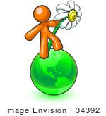 #34392 Clip Art Graphic Of An Orange Guy Character Dancing With A Daisy Flower On A Green Globe