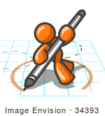 #34393 Clip Art Graphic of an Orange Guy Character Drawing A Circle On Graph Paper by Jester Arts