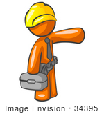 #34395 Clip Art Graphic of an Orange Guy Character Construction Worker Carrying A Box And Pointing by Jester Arts