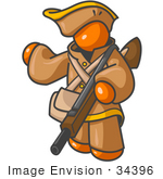 #34396 Clip Art Graphic of an Orange Guy Character In Historical Clothing, Holding A Rifle And Pointing by Jester Arts