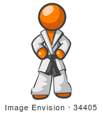 #34405 Clip Art Graphic of an Orange Guy Character Standing Proud In A Karate Suit by Jester Arts