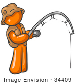 #34409 Clip Art Graphic of an Orange Guy Character Wearing Brown Fishing Gear And Holding His Fishing Pole by Jester Arts