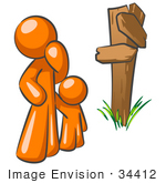 #34412 Clip Art Graphic Of An Orange Guy Character And Child Standing At A Crossroads Sign