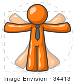 #34413 Clip Art Graphic of an Orange Guy Character Doing Jumping Jacks, Resembling The Vitruvian Man By Leonardo Da Vinci by Jester Arts
