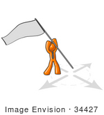 #34427 Clip Art Graphic Of An Orange Guy Character Holding A Flag Above A Target