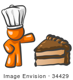 #34429 Clip Art Graphic Of An Orange Guy Character In A Chef Hat Presenting A Slice Of Chocolate Cake
