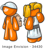 #34430 Clip Art Graphic Of An Orange Character School Children Waiting At The Bus Stop