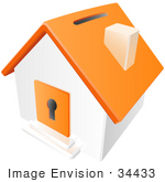 #34433 Clip Art Graphic Of An Orange Home With A Keyhole And Coin Slot