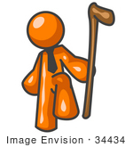 #34434 Clip Art Graphic Of An Orange Guy Character Holding A Can And Lifting His Foot
