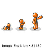 #34435 Clip Art Graphic of an Orange Guy Character Growing From A Baby To A Man by Jester Arts