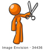 #34436 Clip Art Graphic Of An Orange Woman Character Holding A Pair Of Scissors