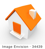 #34439 Clip Art Graphic Of An White Home With An Orange Roof And Door
