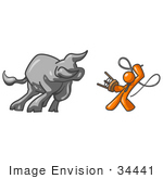 #34441 Clip Art Graphic Of An Orange Guy Character Fighting Off A Bull With A Whip And Stool