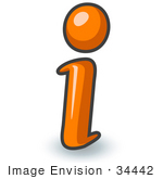 #34442 Clip Art Graphic Of An Orange Information I