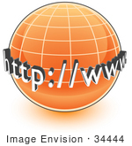 #34444 Clip Art Graphic of an Orange Internet Globe With Http Www On It by Jester Arts