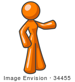 #34455 Clip Art Graphic of an Orange Woman Character Standing And Pointing by Jester Arts